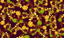 Yellow Seamless Painting. Beige Pattern Design. Vintage Tropical Art. Black Floral Nature. Violet Flora Nature. Golden Spring Exotic. Watercolor Design.