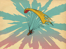 Paraglider Flying In Sky With Clouds