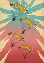 Paragliders Formation Flying In Sky With Clouds