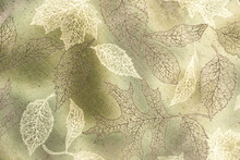 Macro Of Leaf Patterns In A Glass Plate