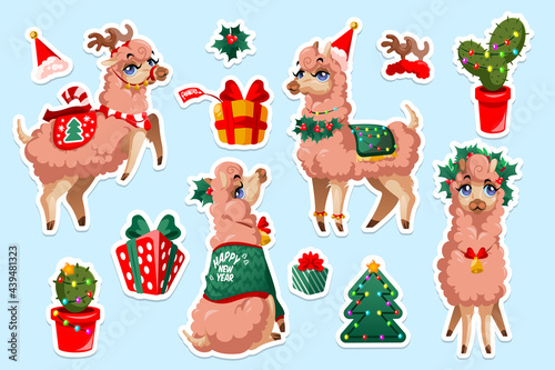Fototapeta premium Set of stickers with New Year Llama, vicuna Peru animal. Christmas alpaca cartoon character. Mexican Lama mascot with cute face wear xmas festive clothes, garland and gift box isolated cut out patches