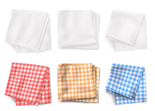 Gingham Tablecloths And White Kitchen Towels Top View. Vector Realistic Set Of 3d Folded Table Clothes With Plaid Pattern And Linen Napkins Isolated On White Background
