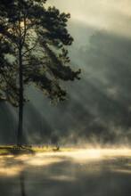Morning At The Lake In The Mist At Sunrise At Pang Ung (Pang Tong Reservoir), Mae Hong Son Province, Thailand Select And Soft Focus