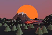 LOW POLY Illustration Of Mountain Range At Sunset