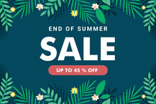 End Of Season Summer Sale Banner Template With Green Leaf Premium Vector