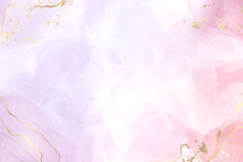 Abstract Two Colored Rose And Lavender Liquid Marble Background With Gold Stripes And Glitter Dust. Pastel Pink Violet Watercolor Drawing Effect. Vector Illustration Backdrop With Gold Splatter