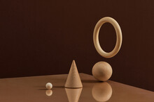 Balancing Spheres In White Monochrome Color.