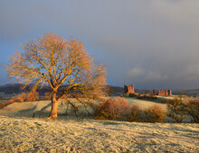 Brough Castle At Sunrise On A Cold, Frosty Morning. Cumbria, UK.