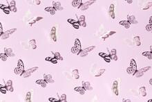Paper Butterflies On Pink