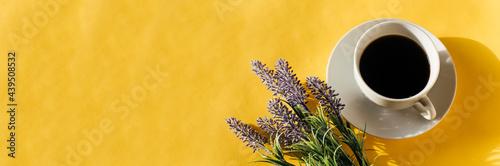 Billede på lærred banner of coffee and lavender on yellow background