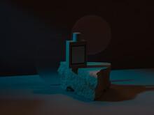 Glass Perfume Bottle With Round Glass Plate On Stone Podium Illuminated With Hard Light