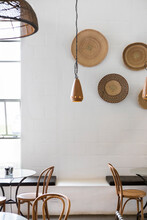 Cafe Interior Decorated With Hanging African Binga Baskets