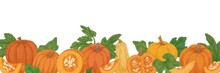 Autumn Hand-drawn Border With Pumpkins, Gourds And Leaves. Fall Orange Vegetables. Banner With Fresh Ripe Squashes In Vintage Style. Realistic Colored Vector Illustration Isolated On White Background