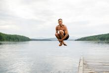Man Cannon Ball Into Lake