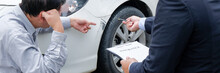 Loss Adjuster Insurance Agent Inspecting Damaged Car. .Sales Manager Giving Advice Application Form Document Considering Mortgage Loan Offer For Car insurance