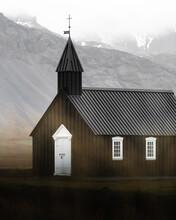 Black Church In Fall