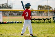 Young Lefty Batter In Little League Game