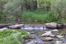 A Rocky Stream Moves Along Through Its Narrow Waterway, Making Peaceful Sounds In Nature