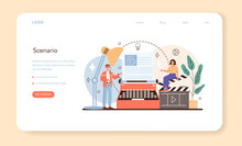 Screenwriter Web Banner Or Landing Page. Playwright Create A Screenplay