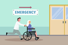 Emergency Vector Concept: Male Doctor Carrying Senior Woman To Emergency Room While Using Wheelchair