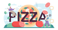 Pizza Typographic Header. Chef Cooking Tasty Delicious Pizza