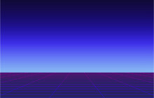 Simple 1980's Vintage Cyberpunk Laser Perspective Grid, Blue And Purple Retro Computer Screen Concept
