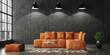 Leinwandbild Motiv Living room loft in industrial style, 3d render