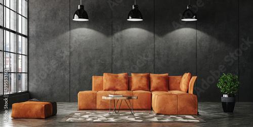 Carta da parati Living room loft in industrial style, 3d render