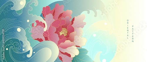 Luxury oriental style background vector. Chinese and Japanese oriental line art with golden texture. Wallpaper design with peony flower and Ocean and wave wall art. Vector illustration.
