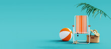 Orange Beach Chair With Summer Accessories On Turquoise Blue Background 3D Rendering, 3D Illustration