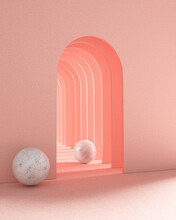 Tunnel Of Arches With Marble Balls
