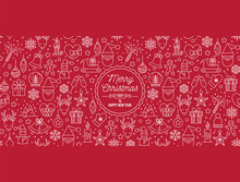 Christmas Decorative Banner With Funny Santa Claus, Nutcracker, Locomotive And Gift Boxes And Many Others