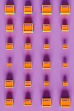 Amplifiers On Violet Background In Different Sizes - Bird View
