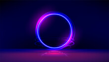 Dark Abstract Furistic Background With Circle Gate. Neon Gloving Ring In Dark Room. Round Light Frame For Text. Portal To Another Universe.