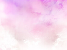 Pink Sky Background With White Cloud.Fantasy Cloudy Sky With Pastel Gradient Color, Nature Abstract Image Use For Backgroung.