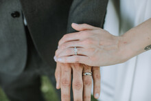 Closeup Of Couple's Wedding Rings On Hand
