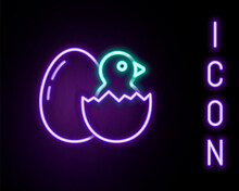 Glowing Neon Line Little Chick In Cracked Egg Icon Isolated On Black Background. Colorful Outline Concept. Vector
