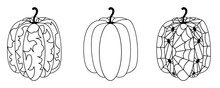 Set Black And White Pumpkins Halloween. Contoured Pumpkins With Abstract Pattern, With Spiders And Cobwebs, Simple. Vector Illustration In A Simple Outline Style For Halloween Holiday, Decoration.