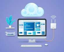 Cloud Engineering. Computer With Open Diagram Pages On Screen. Keyboard And Mouse. Wi-fi Modem And Cloud With Gears. Web Vector Illustration In 3D Style
