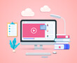 Online education concept. Computer with open pages on screen. Keyboard and mouse. Web vector illustration in 3D style