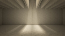 Light Shine Through Ceiling Balks Casting Shadows. Beige Concrete Interior 3d Render Illustration