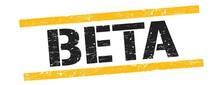 BETA Text On Black Yellow Vintage Lines Stamp.