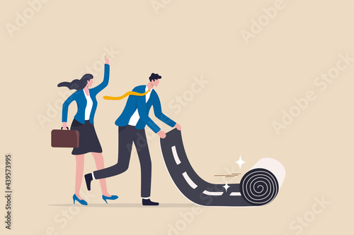 Fotografiet Career path road to success, begin or start new job or career development, leadership to plan for business direction concept, smart businessman rolling career path road carpet for his team colleague