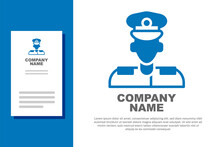 Blue Pilot Icon Isolated On White Background. Logo Design Template Element. Vector