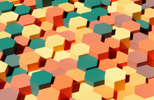 Abstract Colorful Hexagons Background