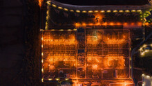 Drone View Of A Power Station At Night