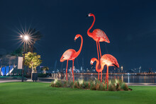 Popular Tourist Attraction - Decorative Statues Of Pink Flamingos On The Background Of The World Tallest Skyscraper - Burj Khalifa