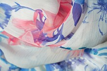 Fabric Material. Blue, White And Purple Textile Texture. Abstract Pink Floral Pattern Close Up.   Macro Blur Background And Italian Product.