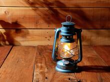 Vintage Kerosene Oil Lantern Lamp Burning Wood Floor