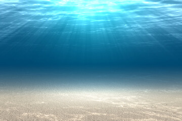 Underwater view of blue water and sunlight
